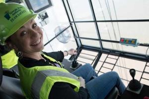 I learned how to drive one of the cabs that operates the cranes! It had a glass floor and we went out over the river. Pretty scary and exciting!